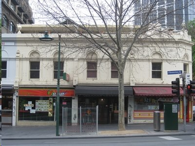 View of the 1851 shops buildings from Swanston St.