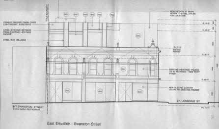 New plans (as submitted for permit, may not be exact final plan) with three storey addition to the rear, and large new shopfronts.