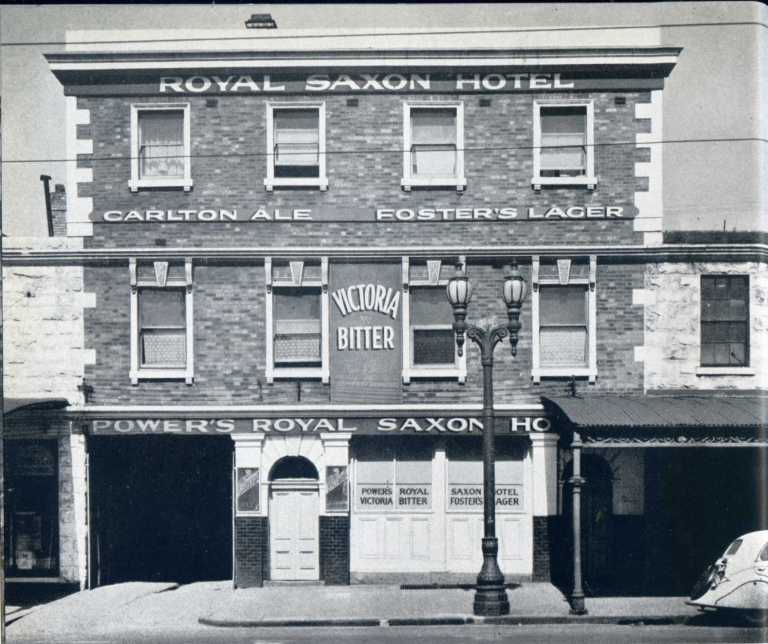 Royal Saxon Hotel 1858 in c1950 showing brick facade and what was probably original ground level.