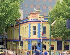 Stork Hotel, corner of Elizabeth and Therry Sts, opp Queen Victoria Market. Demolished 2013.