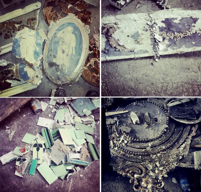 Parts of the interior salvaged from a recycling plant