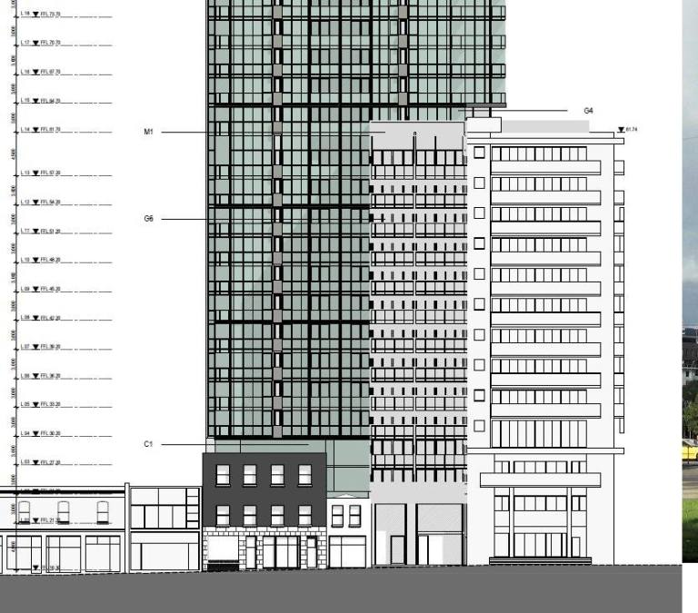 New proposal. The green tower setback 12m, though there is a 12 storey wing in grey replacing altered victorian shops on the right jutting forward. Prefer that was setback a bit.