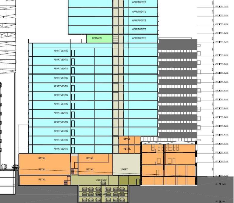 New proposal showing section though retained hotel building (orange part on the lower right) and 4m cantilever over the rear part of the main tower.