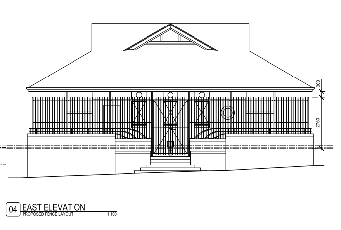 Drawing of Wast elevation as it looks now with proposed fence