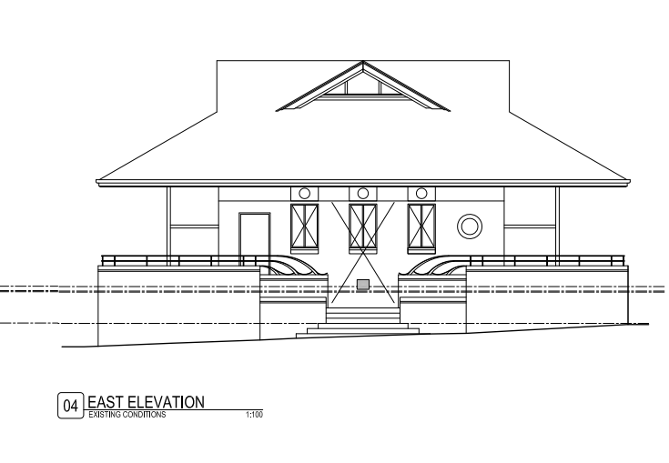 Drawing of West elevation as it looks now
