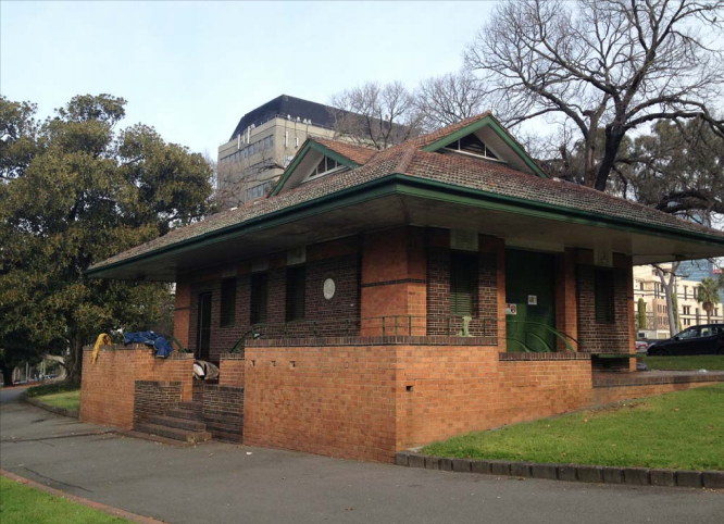 Electrical substation in the Fitzroy Gardens