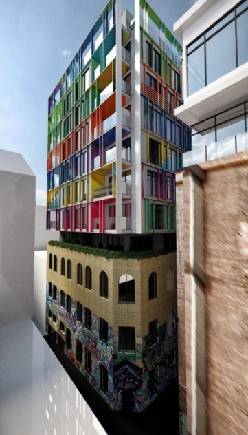 Proposed 'graffiti style' addition in Hosier lane, which will dominate the vista